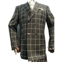 Mens Double breasted Black and White Plaid Windowpane Sport Coat