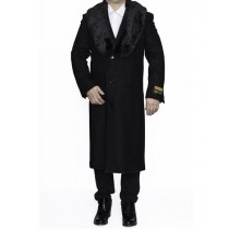 Mens Removable Fur Collar Full Length Wool Black Dress Top Coat / Overcoat