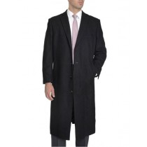 Mens Single Breasted Full Length Wool Cashmere Black Overcoat - Cashmere Topcoat - Mens Cashmere Overcoat - Cashmere Coat