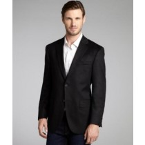 Black Wool Cashmere Blend Two Button Blazer Jacket
