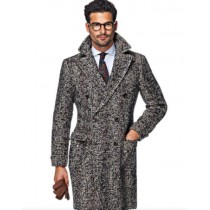 Tweed Overcoat - Black And White Herringbone Overcoat