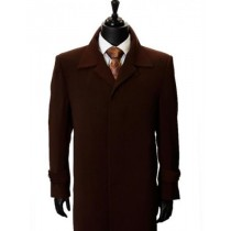 MAXI-LENGTH BROWN MICROFIBER FULLY-LINED HIDDEN BUTTONS DUSTER COAT