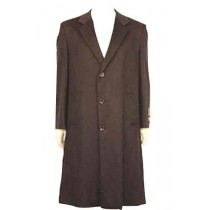 47 Inch Long Length Three Button Wool Cashmere Blended TopCoat