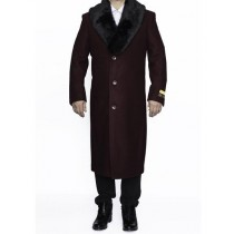 mens top coats full length Burgundy Removable Fur Collar Wool Overcoat