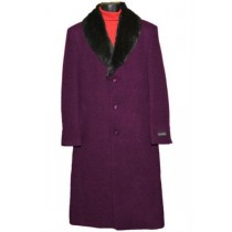Men's Fur Collar Burgundy 3 Button Single Breasted Wool Full Length Overcoat