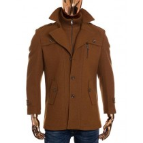 Mens Camel Brown Zip Up Closure Long Wool Coat