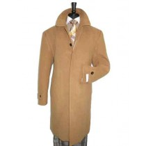 Mens Full Length Dress Top Coat - Mens Tan Overcoat