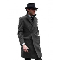 Charcoal Mens Knee Length Pea coat   Mens Peacoat