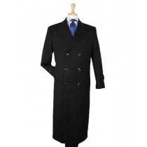 Double Breasted Wool Trench Coat Mens Black Overcoat