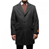 3 Buttons Charcoal Notched lapel Wool and Cashmere Car coat