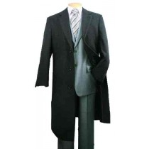 48 Inch Full Length Charcoal Fully Lined Wool Blend Mens Topcoat