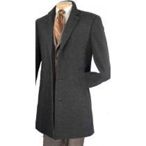 Charcoal grey cashmere blended coat with matching buttons - Mens Car Coat