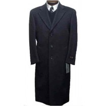 Charcoal Gray classic model button front Wool & Cashmere 45 Inch Coat