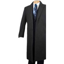 3 Button Full Length Cashmere Blended Top Coat - Charcoal Grey