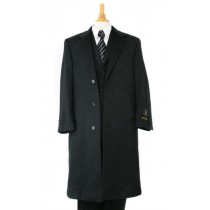 Mens Dress Coat Notch lapel Charcoal Gray Cashmere Wool Overcoat