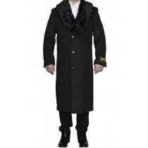 Mens Charcoal Grey Removable Fur Collar Full Length Wool Top Coat / Overcoat