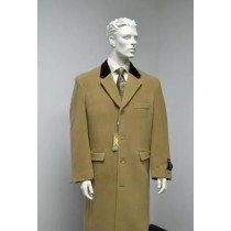Chesterfield Wool & Cashmere Full Length Velvet Collar Beige