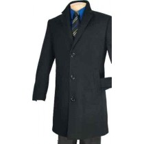 Car Coat in a Soft Cashmere Blend – Black Full length sleeves - Cashmere Topcoat - Mens Cashmere Overcoat - Cashmere Coat