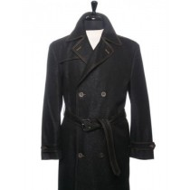 Black Double Breasted Denim Trench Coat Mens Single Vent in Back