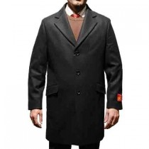 Genuine Black Wool and cashmere fabric 3 Buttons - Cashmere Topcoat - Mens Cashmere Overcoat - Cashmere Coat
