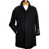 Black Hidden button Dress Coat Wool & Cashmere Winter Overcoat ~ Topcoat