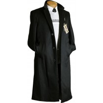 Black 3 Button Design Cashmere 100% Wool Blend Dress Coat Overcoat