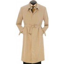 Mens Full Length 45 Inch Khaki Trench Rain Coat with Belt