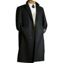 3 Buttons Dress Coat design Black Wool Overcoat with Multi-Inner Pockets