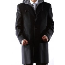 Hooded Dress Coat Wool Black ~ Charcoal Winter Coat Mens Topcoat