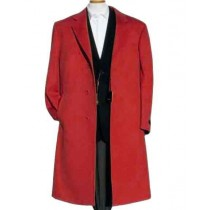 Mens Dark Red Overcoat Trench coat - Wool Fabric Trench Coat For Men