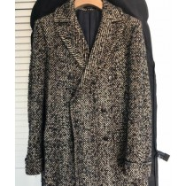 Tweed Overcoat - Herringbone Overcoat - Black And White Topcoat