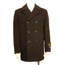 Double Breasted Three Button Collar Wool Blend Pea Coat Black