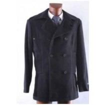 Black Trendy Double Breasted Winter Pea coat 100% Wool Mens Peacoat