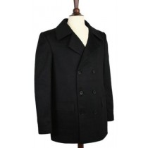 Wool pea coat Double Breasted Wrinkle-Resistant Broad Lapels