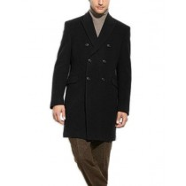 Mens Black Double Breasted 3/4 Length Wool Cashmere Overcoat - Cashmere Topcoat - Mens Cashmere Overcoat - Cashmere Coat