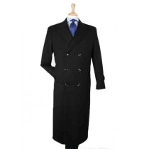 Mens Wool Double Breasted Button Closure Black Top Overcoat