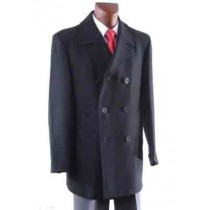 Double Breasted Luxury Wool Pea coat with metallic buttons Mens Peacoat