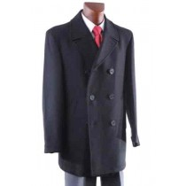 Luxury BLack Double-breasted Dress Coat Wool Fully lined Topcoats