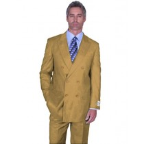 Mens Double Breasted Peak Lapel Bronze Camel Khaki Suit