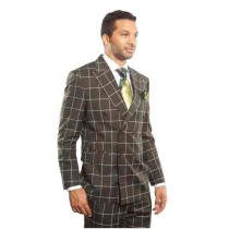 Mens Double Breasted Dark Green Plaid Windowpane Sport Coat