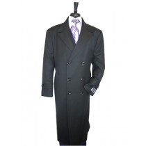 Mens Peak Lapel Wool Jet Black Overcoat  Double Breasted Top Coat