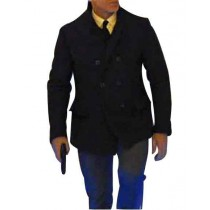 double breasted pea coat mens Navy Blue Button Closure