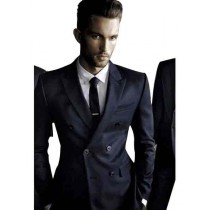 Mens Navy Double Breasted Sport Coat Velvet Blazer Jacket