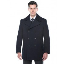 Double Breasted Overcoat Mens Navy Wool blend  / Topcoat