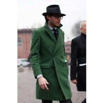Double Breasted Long Overcoat One Chest Pocket Olive Green - Mens Car Coat