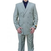 Peak Lapel Sage Light Green Alberto Nardoni Wool Suit