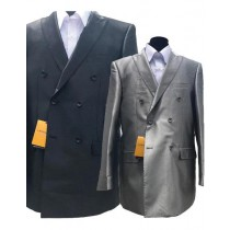 Alberto Nardoni Silver Grey And Black Rayon Sharkskin Suit