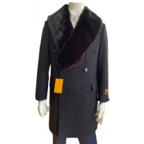 Double Breasted Three Quarter Overcoat - Wool And Black Peacoat - Topcoat By Alberto Nardoni