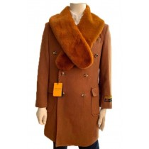 Double Breasted Three Quarter Overcoat - Wool And Cashmere Peacoat - Topcoat By Alberto Nardoni