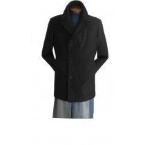 Wool Blend Double Breasted Broad Lapels Side Pocket Pea Coat